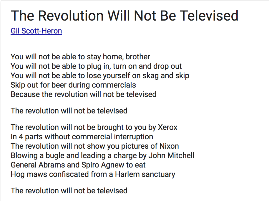 The Revolution Will Not Be Televised But You Might Catch